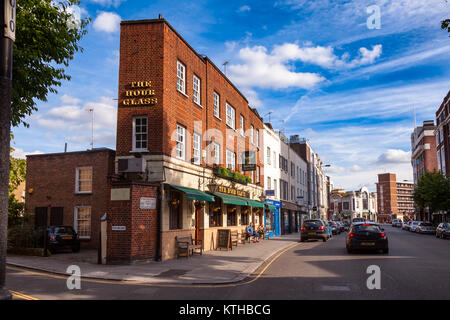LONDON, UK - JUNE 17, 2013: Narrow building of historic The Hour Glass Pub on Brompton Road, Chelsea, London SW3 - Stock Photo