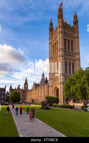 LONDON, UK - JUNE 16, 2013: The Palace of Westminster known as the Houses of Parliament, City of Westminster, Central - Stock Photo