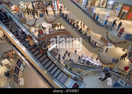 A view from above at the Queens Center shopping mall in Elmhurst, Queens, New York City just a few days before Christmas. - Stock Photo
