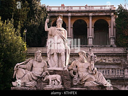 Statue Dea Roma (Rome), armed with lance and helmet, in front is the she-wolf feeding Romulus and Remus, in Piazza - Stock Photo