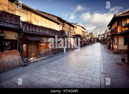 Geni Konishi museum store front on Hanamikoji Dori street in Gion district in morning sunrise with closed shops, - Stock Photo