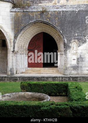 Brantome en Perigord, entrance of Abbaye de Saint Pierre de Brantome, La Dronne river, Dordogne, Nouvelle-Aquitaine, - Stock Photo