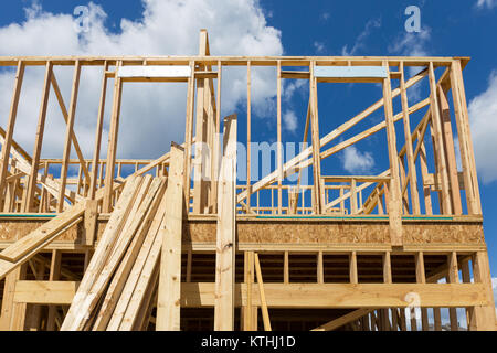 Single Family Home Construction - Building a New Wood Framed House - Stock Photo