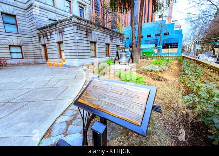 Portland, Oregon, United States - Dec 19, 2017 : Garden sign at Portland city hall