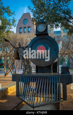 Sculpture outside Frisco City Hall in Frisco, Texas. Frisco is a city in Collin and Denton counties in Texas, in - Stock Photo