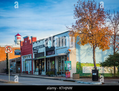 Main Street in Frisco, Texas. Frisco is a city in Collin and Denton counties in Texas, in the Dallas-Fort Worth - Stock Photo