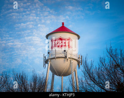 Water tower in Frisco, Texas. Frisco is a city in Collin and Denton counties in Texas, in the Dallas-Fort Worth - Stock Photo