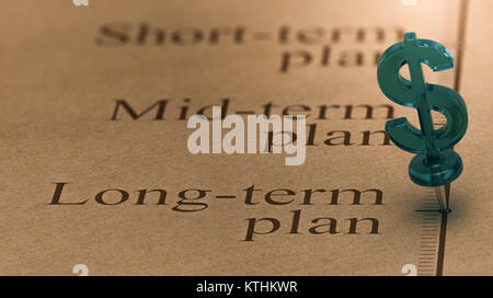 Dollar shaped pushpin, pined on a timeline in front of the text long-term plan. Concept of long term investments - Stock Photo