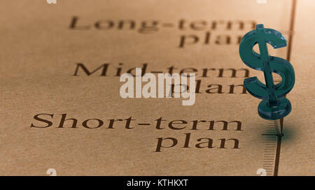 Dollar shaped pushpin, pined on a timeline in front of the text short-term plan. Concept of short term investments - Stock Photo
