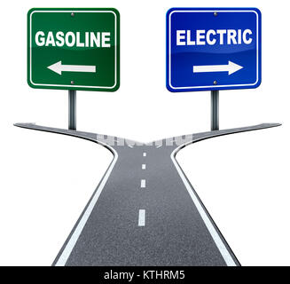 Gasoline and electric energy industry choice concept on a crossroad between old gas fuel power or alternative battery - Stock Photo
