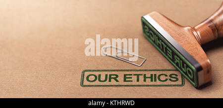 3D illustration of rubber stamp over paper background with the text our ethics. Business moral principles concept - Stock Photo