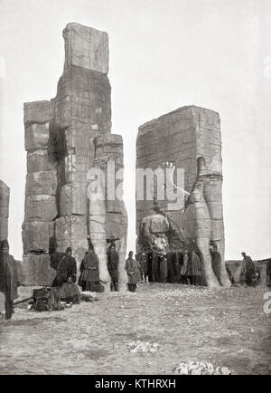 The Gate of All Nations aka Gate of Xerxes, Persepolis, Iran, seen here in the late 19th century.  From The Wonders - Stock Photo