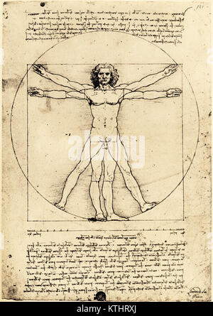 Vetruvian Man, by Leonardo da Vinci created c. 1480-1490. The drawing, demonstrating proportions of the human body, - Stock Photo