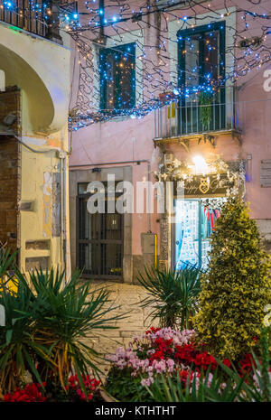The amazing 'Luci d'Artista' (artist lights) in Salerno during Christmas time, Campania, Italy. - Stock Photo