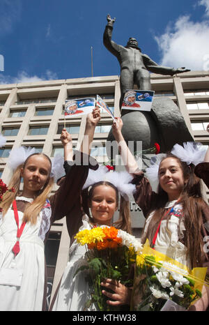 Schoolgirls from the Russian International Theatre School. A statue of Yuri Gagarin, the first man in space, was today unveiled outside the British Council's London HQ in the Mall to mark the 50th anniversary of the first manned space flight. Today, 14 July 2011, it is exactly 50 years to the day that Gagarin met the Queen as part of his visit to the UK in 1961. The unveiling of the statue was carried out by the cosmonaut's daughter Elena Gagarina, now Director fo the Kremlin Museums in Moscow