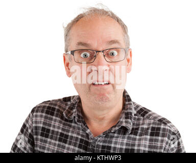 Man with a dumbfounded goofy look - Stock Photo