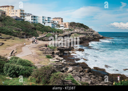 bondi to coogee costal walk in sydney - Stock Photo