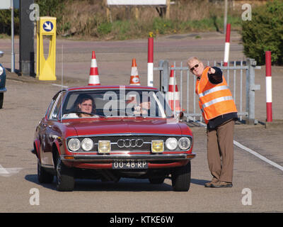 Audi 100 Coupe S, build in 1977, Dutch licence registration 00 48 RP, at IJmuiden, The Netherlands, pic2 - Stock Photo