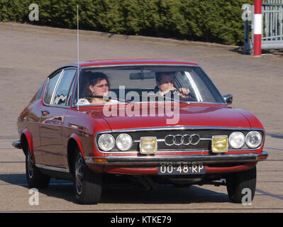 Audi 100 Coupe S, build in 1977, Dutch licence registration 00 48 RP, at IJmuiden, The Netherlands, pic3 - Stock Photo