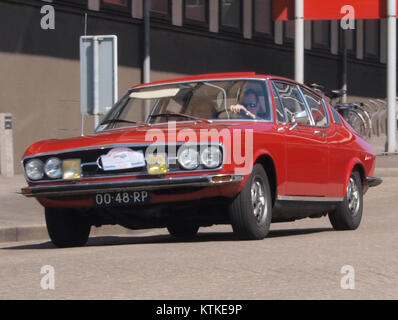 Audi 100 Coupe S, build in 1977, Dutch licence registration 00 48 RP, at IJmuiden, The Netherlands, pic4 - Stock Photo