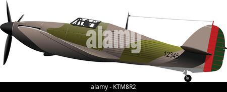 Air force. Old combat airplane. Vector illustration - Stock Photo