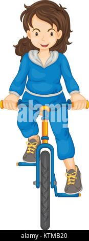 Lady riding a bike isolated - Stock Photo