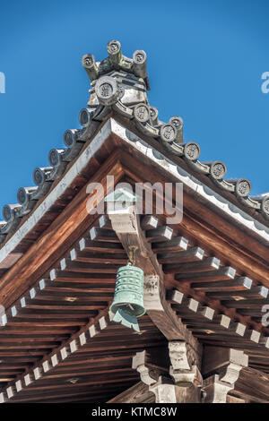 Roof ridge ornaments detail of Dharma Hall or Hatto Ceremony Hall. 'Nanzen' (Southern Zen) inscription in circular - Stock Photo