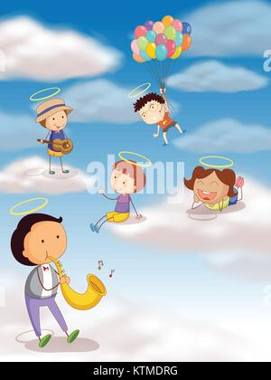 illustration of a kids playing with balloons in the sky - Stock Photo