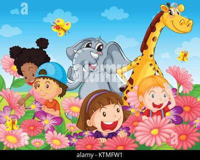 Illustration of kids with animals - Stock Photo