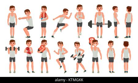 Fitness Man Vector. Different Poses. Weight Training. Exercising Male. Man Figures Is Training On Sport Club. Isolated - Stock Photo