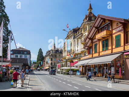 Höheweg, the main street in Interlaken, Switzerland - Stock Photo