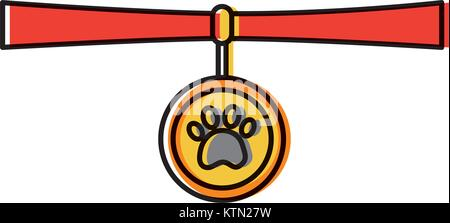 pet necklace medal identity animal vector illustration - Stock Photo