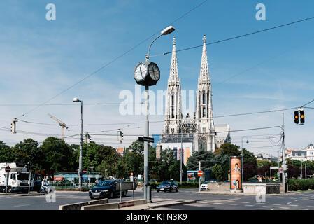 Sigmund Freud Park with Votive church on background in Vienna - Stock Photo