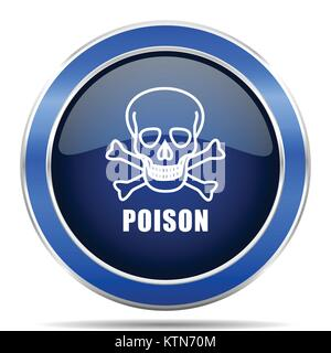 Poison skull vector icon. Modern design blue silver metallic glossy web and mobile applications button in eps 10 - Stock Photo