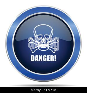 Danger skull vector icon. Modern design blue silver metallic glossy web and mobile applications button in eps 10 - Stock Photo