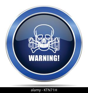 Warning skull vector icon. Modern design blue silver metallic glossy web and mobile applications button in eps 10 - Stock Photo