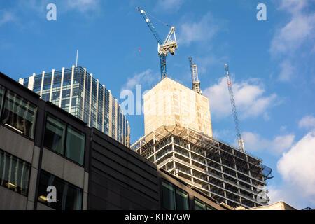 Construction of 100 Bishopsgate, City of London, UK - Stock Photo