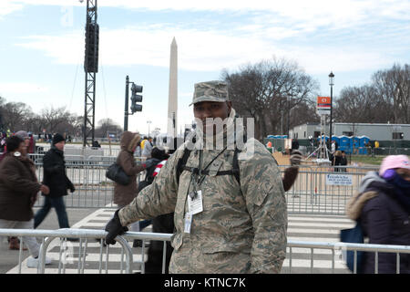 WASHINGTON, D.C. — – Airman 1st Class Damion Myrie, a heavy equipment operator at the 201st Red Horse Squadron, Pennsylvania Air National Guard, Fort Indiantown Gap, Pa., was one of the many National Guardsmen providing crowd control support at the Presidential Inauguration.  The 57th Presidential Inauguration was held in Washington D.C. on Monday, January 21, 2013.   During the 10-day inaugural period approximately 6,000 National Guard personnel from over 30 states and territories worked for Joint Task Force-District of Columbia, providing traffic control, crowd management, transportation, co