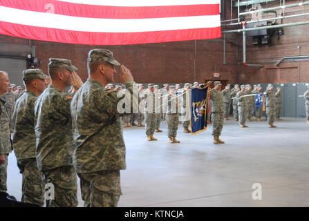UTICA, N.Y. –New York Army National Guard Lt. Col. Joseph Biehler, Lt. Col. Christopher Cronin and Maj. Gen. Steven - Stock Photo