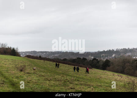 Greater London, UK. 26th Dec, 2017. UK Weather. Overcast with heavy showers on Boxing Day, as people walk off their - Stock Photo
