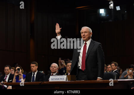 (171227) -- NEW YORK, Dec. 27, 2017 (Xinhua) -- U.S. Attorney General Jeff Sessions is sworn in prior to testifying - Stock Photo