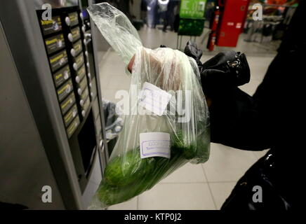 St Petersburg, Russia. 28th Dec, 2017. Security stickers seen on a customer's plastic bag outside a Perekrestok - Stock Photo