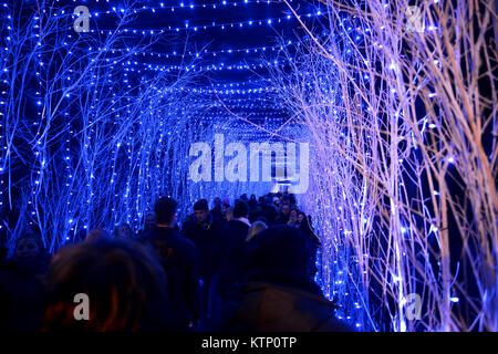 ZAGREB, CROATIA - DECEMBER 26., 2017: Christmas decorated town of Zagreb during advent and holidays in December. - Stock Photo
