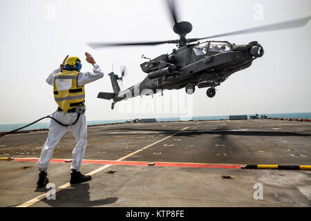 An AH-64 Apache flown by pilots from 3rd Battalion, 159th Attack Reconnaissance Battalion, 42nd Combat Aviation - Stock Photo