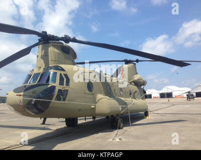 HUNTER ARMY AIRFLIED, Savannah, Georgia—A CH-47F model Chinook helicopter sits on the tarmac here on Oct. 20, 2014. - Stock Photo