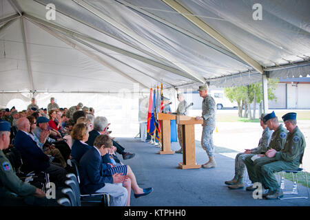 The Adjutant General  of New York, Maj. Gen. Patrick Murphy, addresses a group of retired military members, current - Stock Photo