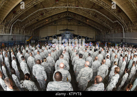 Members of the 105th Airlift Wing form up to witness a change of command ceremony at Stewart Air National Guard - Stock Photo