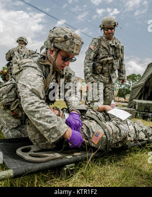 New York Army National Guard medics, assigned to Headquarters Co., 1st Battalion, 69th Infantry support a Soldier - Stock Photo