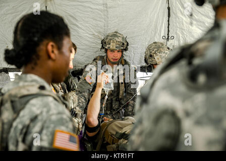 New York Army National Guard medics, assigned to Headquarters Co., 1st Battalion, 69th Infantry, assess a Soldier - Stock Photo