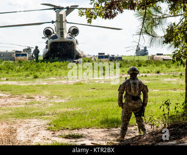 Warrant Officer Jarred Barnes, a New York Army National Guard aviator assigned to the Bravo Company, 3rd Battalion, - Stock Photo